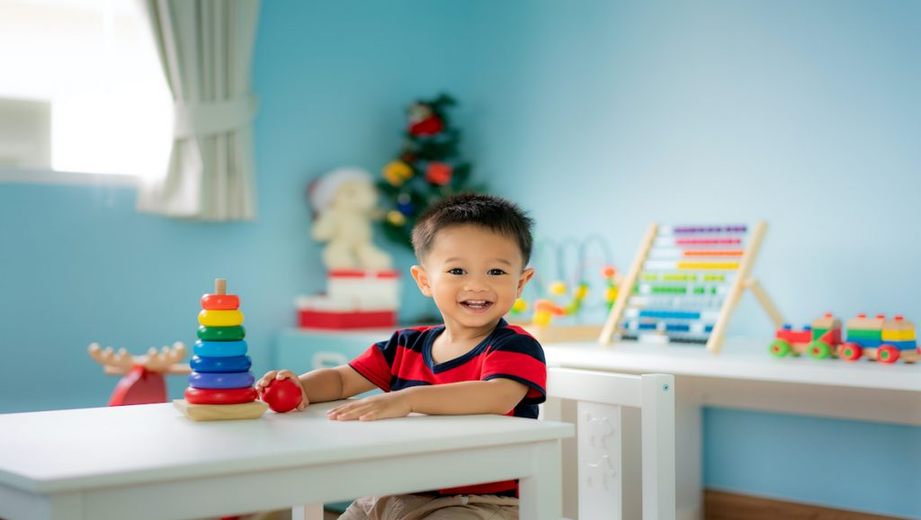 toddler staying busy with education toys